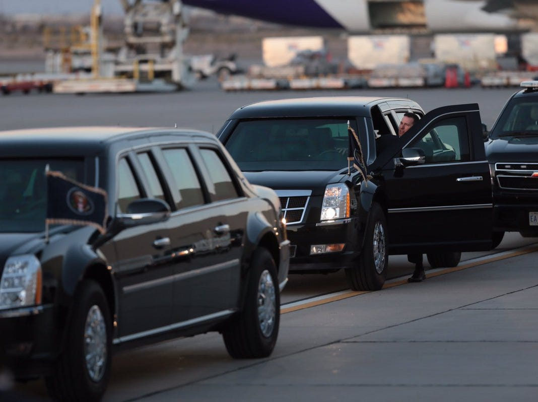 The presidential motorcade awaits the arrival of President Donald Trump on Monday, Feb. 11, 2019, at the El Paso International Airport.