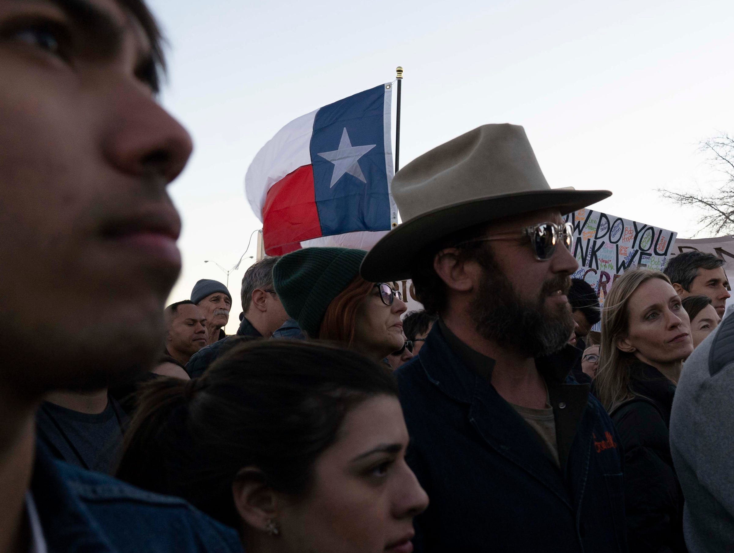2/11/19 5:43:49 PM -- El Paso, TX, U.S.A  -- A counter-rally led by former U.S. Senate candidate Beto O'Rourke joined the March for Truth with hundreds of people along with Border Network for Human Rights, Women's March, to protest against President Trump campaign rally near El Paso County Coliseum on Feb. 11, 2019.