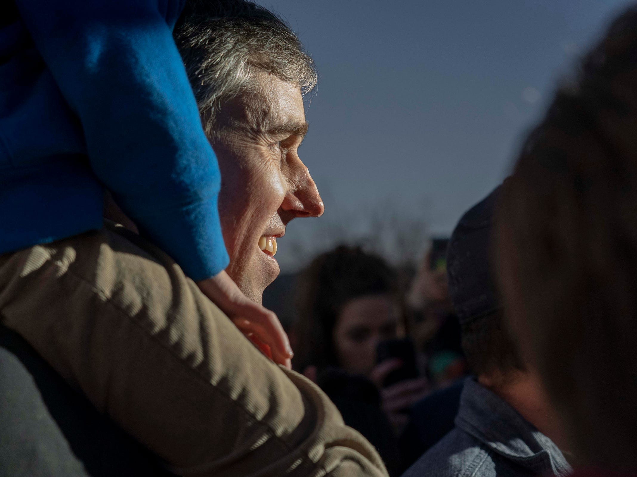 2/11/19 5:58:05 PM -- El Paso, TX, U.S.A  -- A counter-rally led by former U.S. Senate candidate Beto O'Rourke, holds his son Henry, joined the March for Truth with hundreds of people along with Border Network for Human Rights, Women's March, to protest against President Trump campaign rally near El Paso County Coliseum on Feb. 11, 2019. Photo by Nick Oza, Gannett