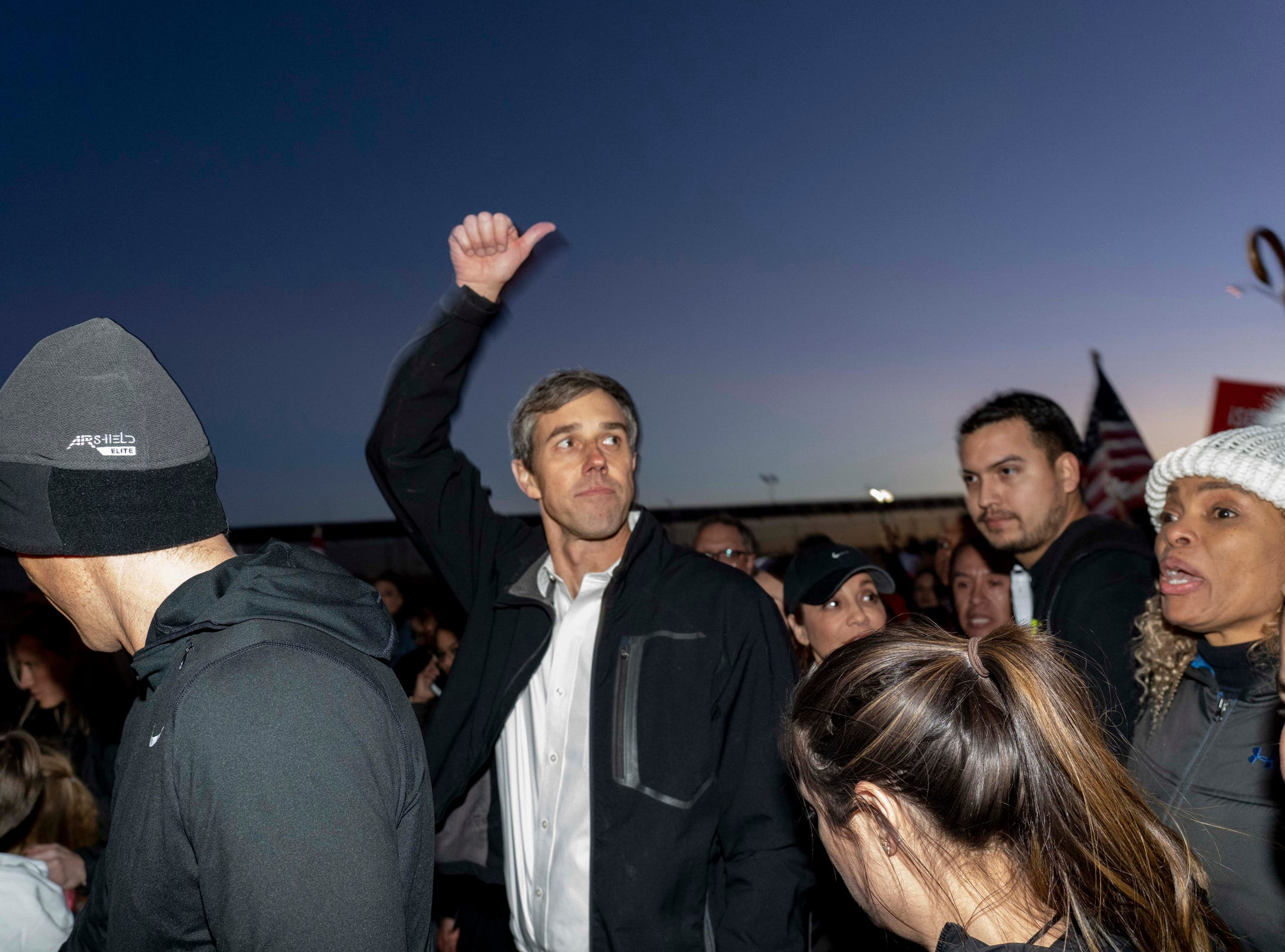 2/11/19 6:06:43 PM -- El Paso, TX, U.S.A  -- A counter-rally led by former U.S. Senate candidate Beto O'Rourke joined the March for Truth with hundreds of people along with Border Network for Human Rights, Women's March, to protest against President Trump campaign rally near El Paso County Coliseum on Feb. 11, 2019.