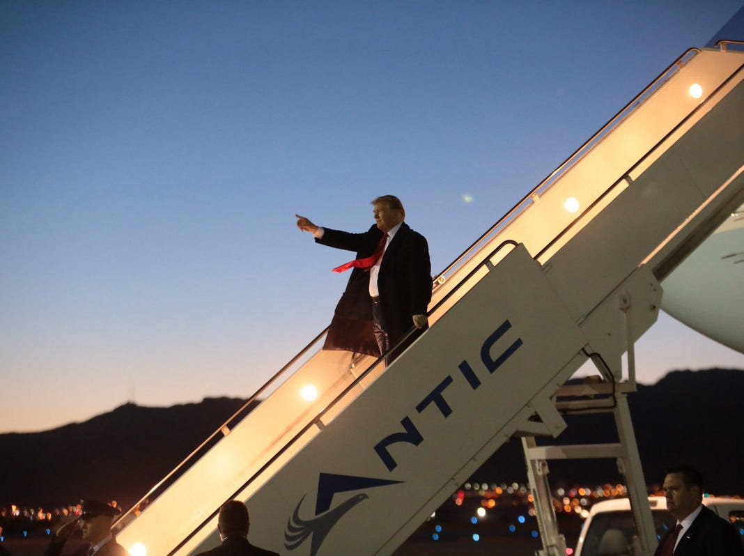 President Donald Trump arrives Monday, Feb. 11, 2019, at the El Paso International Airport.