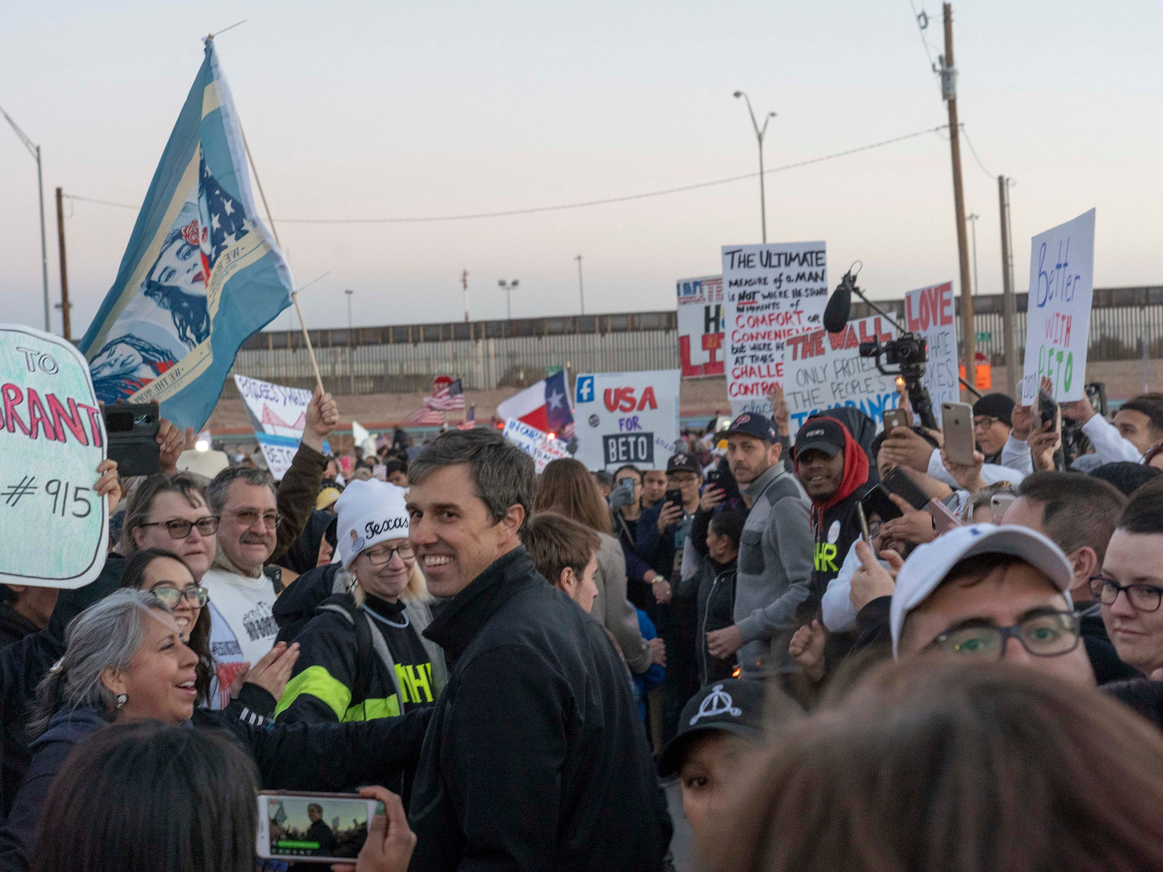 2/11/19 5:52:49 PM -- El Paso, TX, U.S.A  -- A counter-rally led by former U.S. Senate candidate Beto O'Rourke joined the March for Truth with hundreds of people along with Border Network for Human Rights, Women's March, to protest against President Trump campaign rally near El Paso County Coliseum on Feb. 11, 2019.