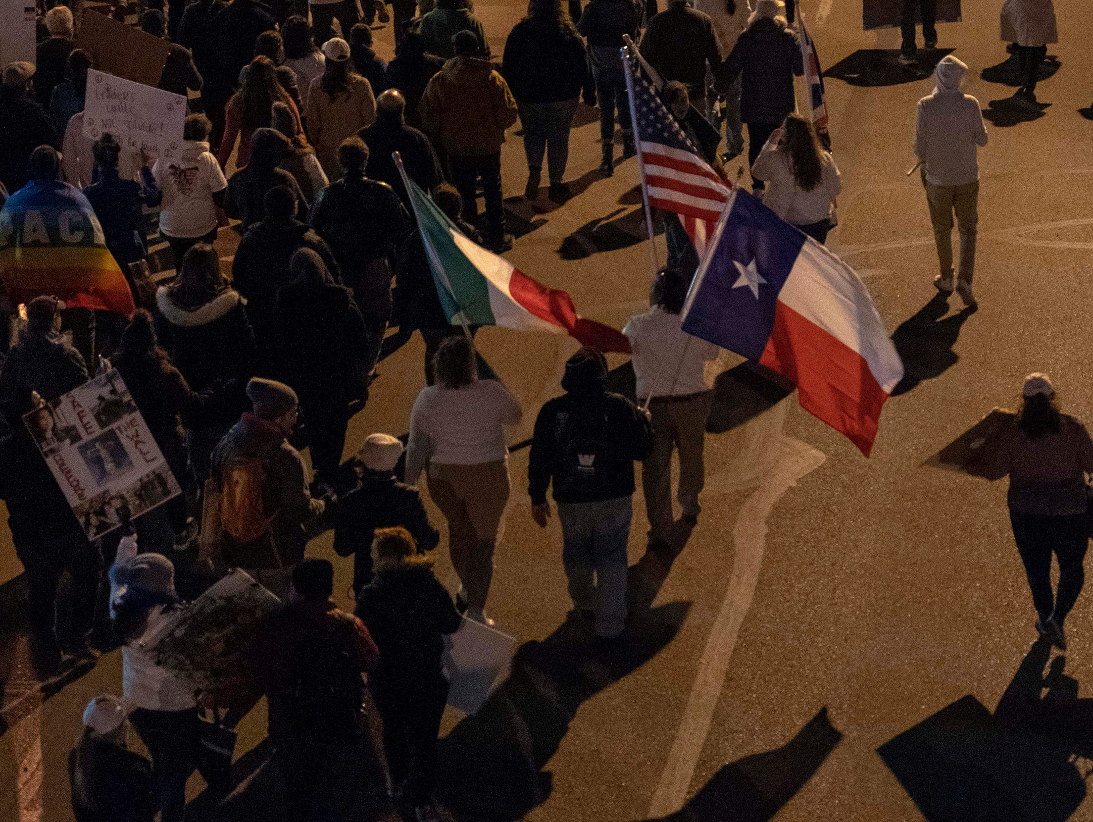 2/11/19 6:26:10 PM -- El Paso, TX, U.S.A  -- Hundreds joined the March for Truth along with Border Network for Human Rights, Women's March, to protest against President Trump campaign rally near El Paso County Coliseum on Feb. 11, 2019.