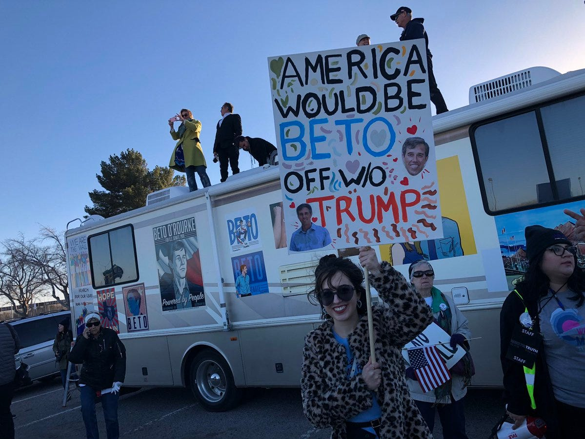 The Beto Mobile shows up at the counter-rally Monday.