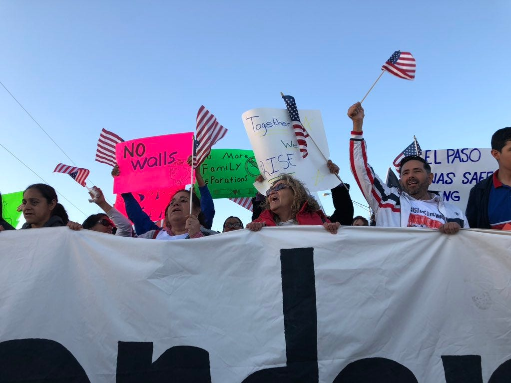 "Thousands join the counter-rally Monday in El Paso, chanting, ""Reforma si, el muro no!"" (Reform yes, the wall no)."