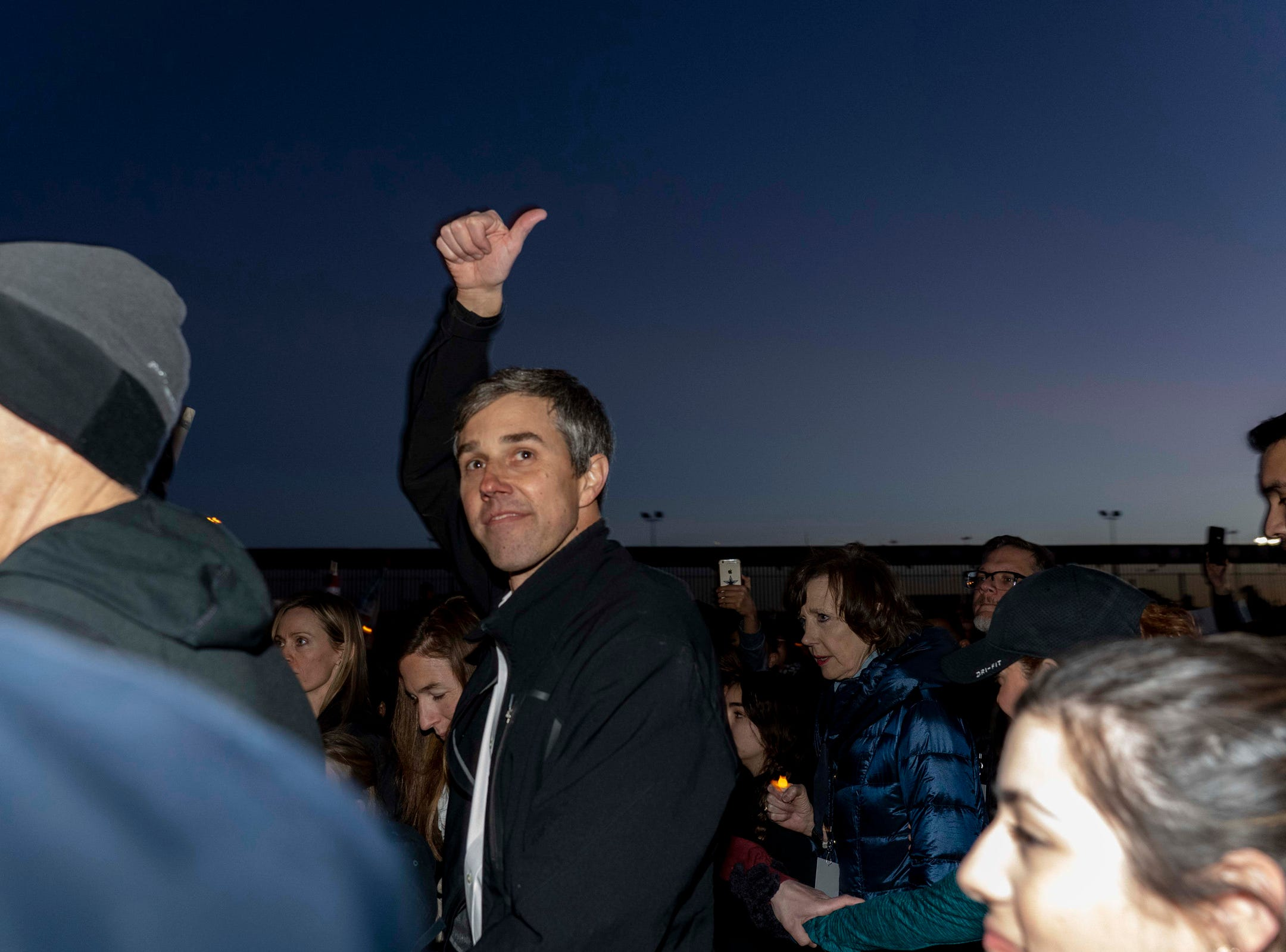 2/11/19 6:06:46 PM -- El Paso, TX, U.S.A  -- A counter-rally led by former U.S. Senate candidate Beto O'Rourke joined the March for Truth with hundreds of people along with Border Network for Human Rights, Women's March, to protest against President Trump campaign rally near El Paso County Coliseum on Feb. 11, 2019.