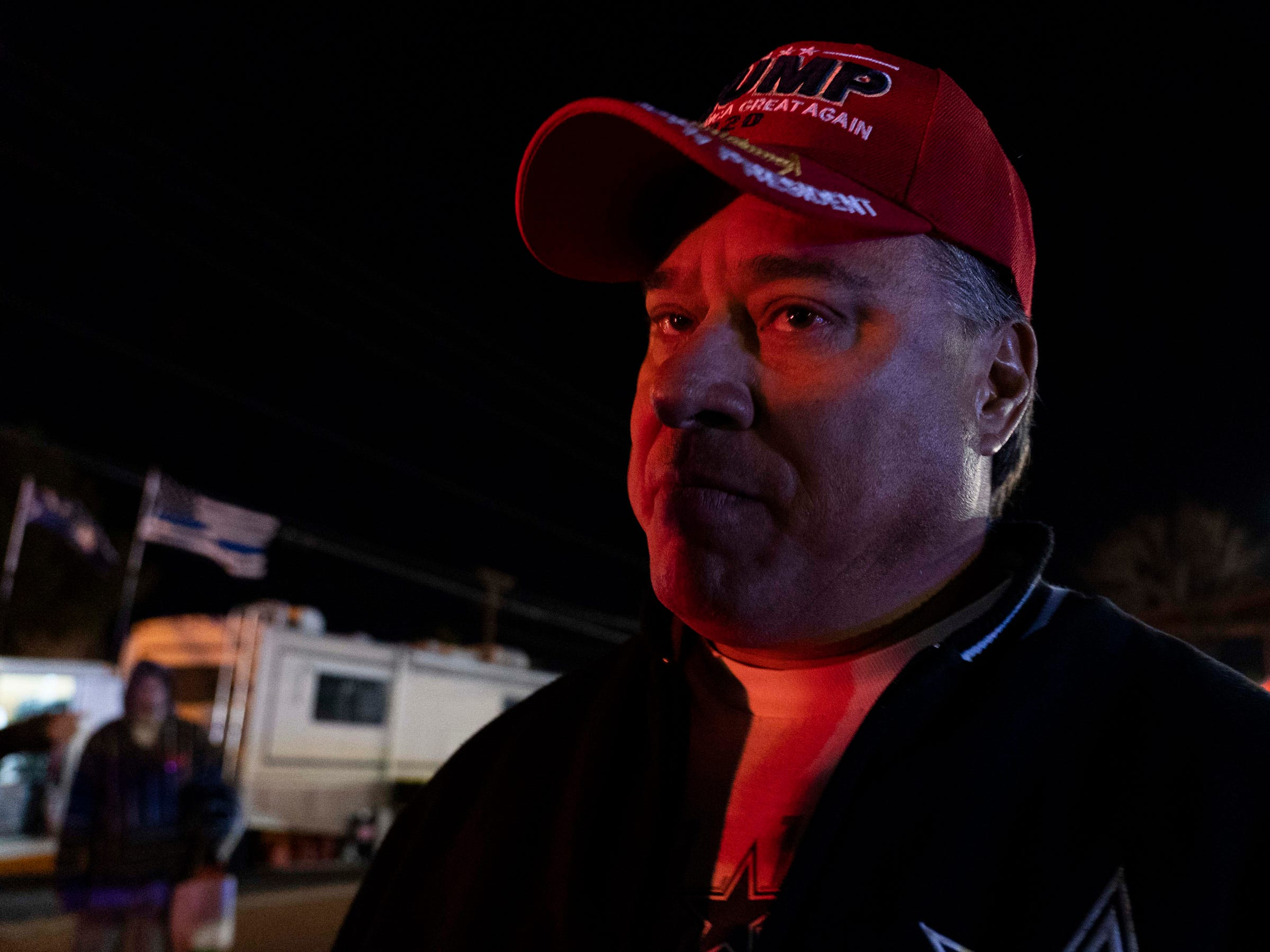 2/11/19 9:07:59 PM -- El Paso, TX, U.S.A  -- Anthony Gonzalez, a President Trump supporter during the campaign rally near El Paso County Coliseum on Feb. 11, 2019.