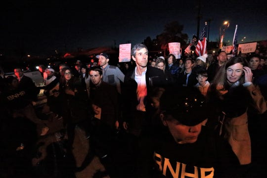 Beto O'Rourke marches from Bowie High School to the Chalio Acosta Sports Center baseball field during an anti-Trump march and rally in El Paso.