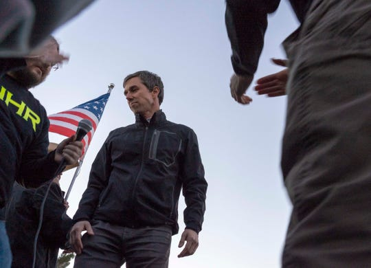 2/11/19 5:52:49 PM -- El Paso, TX, U.S.A  -- A counter-rally led by former U.S. Senate candidate Beto O'Rourke joined the March for Truth with hundreds of people along with Border Network for Human Rights, Women's March, to protest against President Trump campaign rally near El Paso County Coliseum on Feb. 11, 2019. Photo by Nick Oza, Gannett