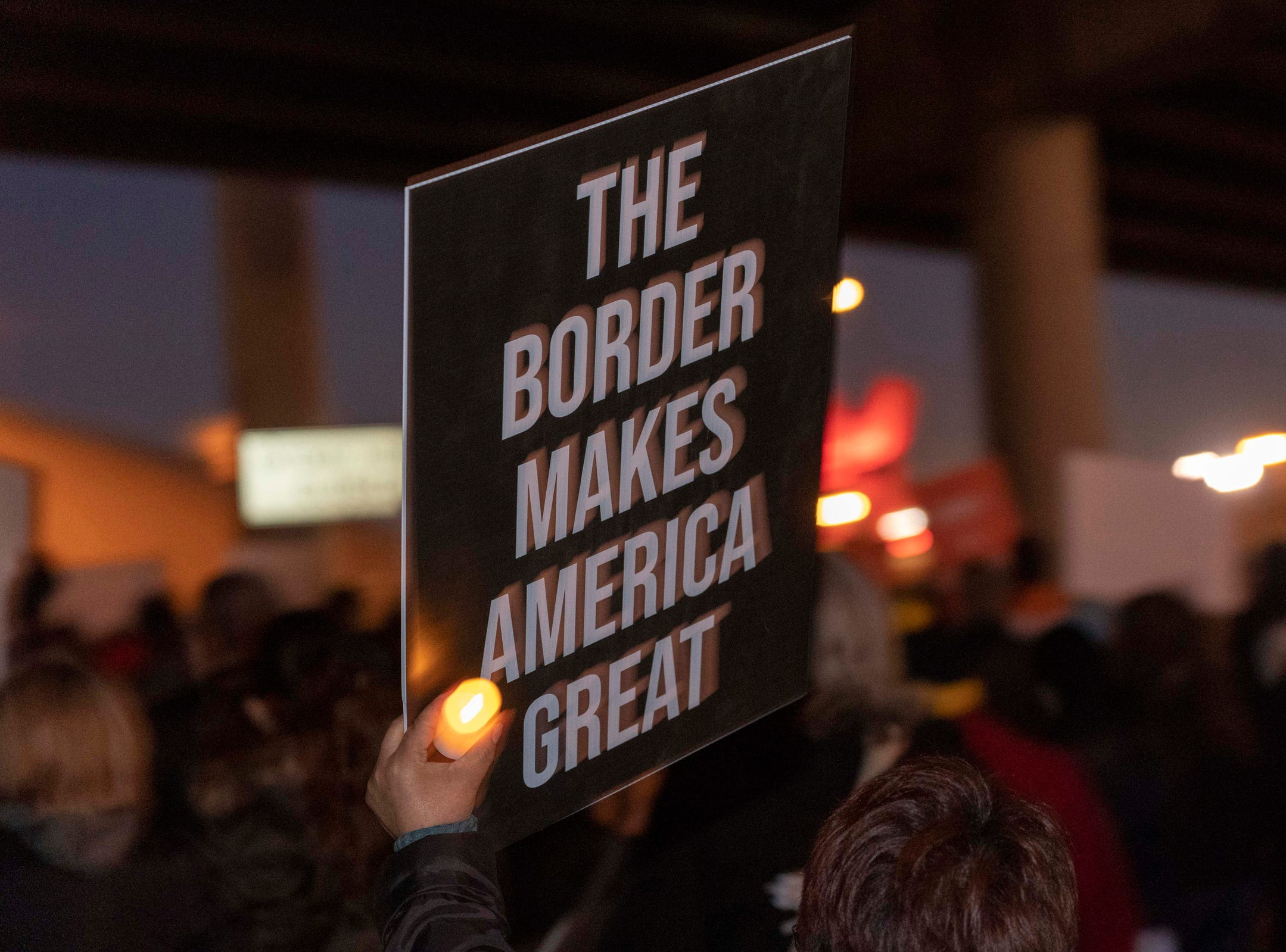 2/11/19 6:21:41 PM -- El Paso, TX, U.S.A  -- Hundreds joined the March for Truth along with Border Network for Human Rights, Women's March, to protest against President Trump campaign rally near El Paso County Coliseum on Feb. 11, 2019.