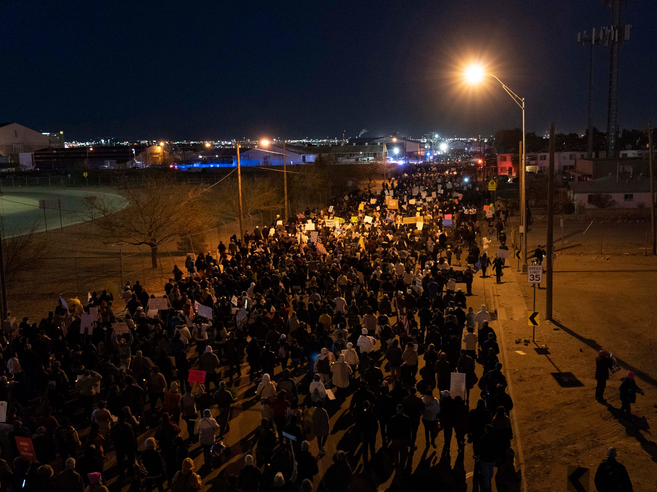 2/11/19 6:25:04 PM -- El Paso, TX, U.S.A  -- Hundreds joined the March for Truth along with Border Network for Human Rights, Women's March, to protest against President Trump campaign rally near El Paso County Coliseum on Feb. 11, 2019.