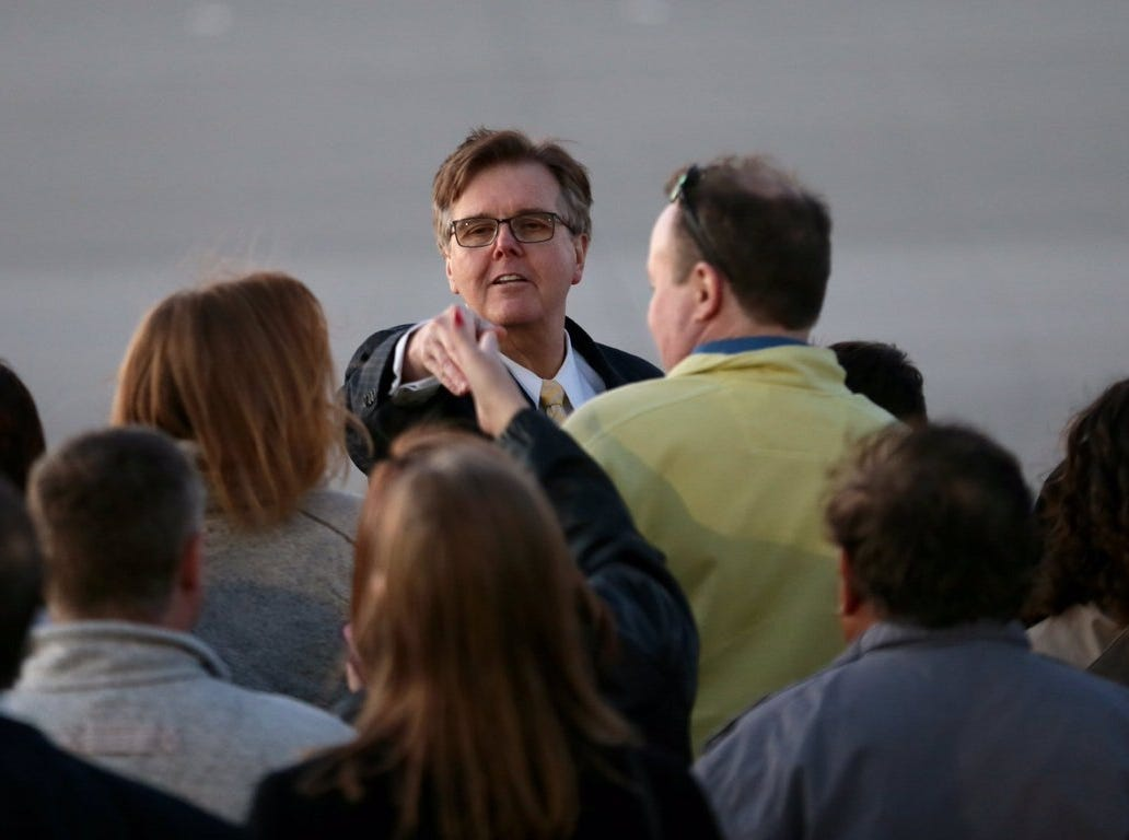 Lt. Gov. Dan Patrick arrives Monday, Feb. 11, 2019, at the El Paso International Airport.