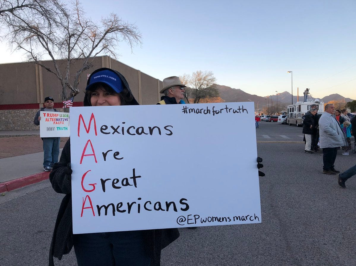 A sign shows support for Mexicans at the counter-rally Feb. 11, 2019.
