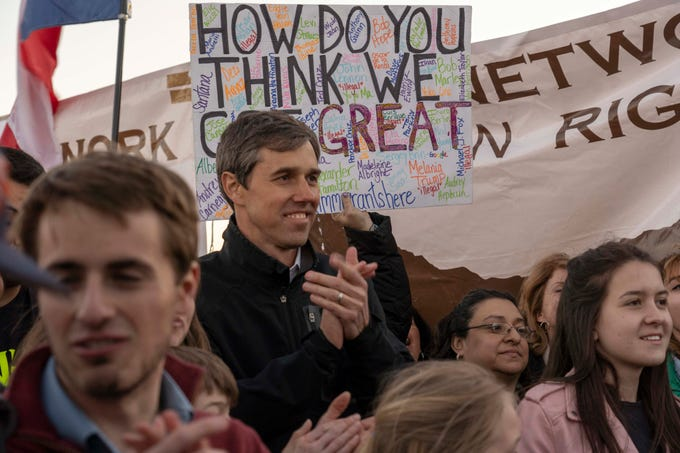 2/11/19 5:44:54 PM -- El Paso, TX, U.S.A  -- A counter-rally led by former U.S. Senate candidate Beto O'Rourke joined the March for Truth with hundreds of people along with Border Network for Human Rights, Women's March, to protest against President Trump campaign rally near El Paso County Coliseum on Feb. 11, 2019.