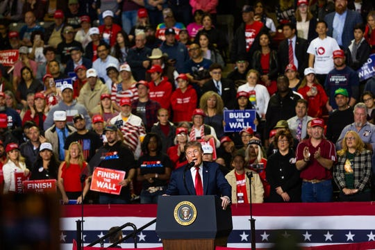 President Donald Trump held a rally Monday, Feb. 11, 2019, at the El Paso County Coliseum. Trump spoke at length about finishing the wall. His visit came days after his State of the Union speech, which angered many El Pasoans and prompted a protest near the coliseum. Beto O'Rourke held a competing rally across the street from Trump's rally.
