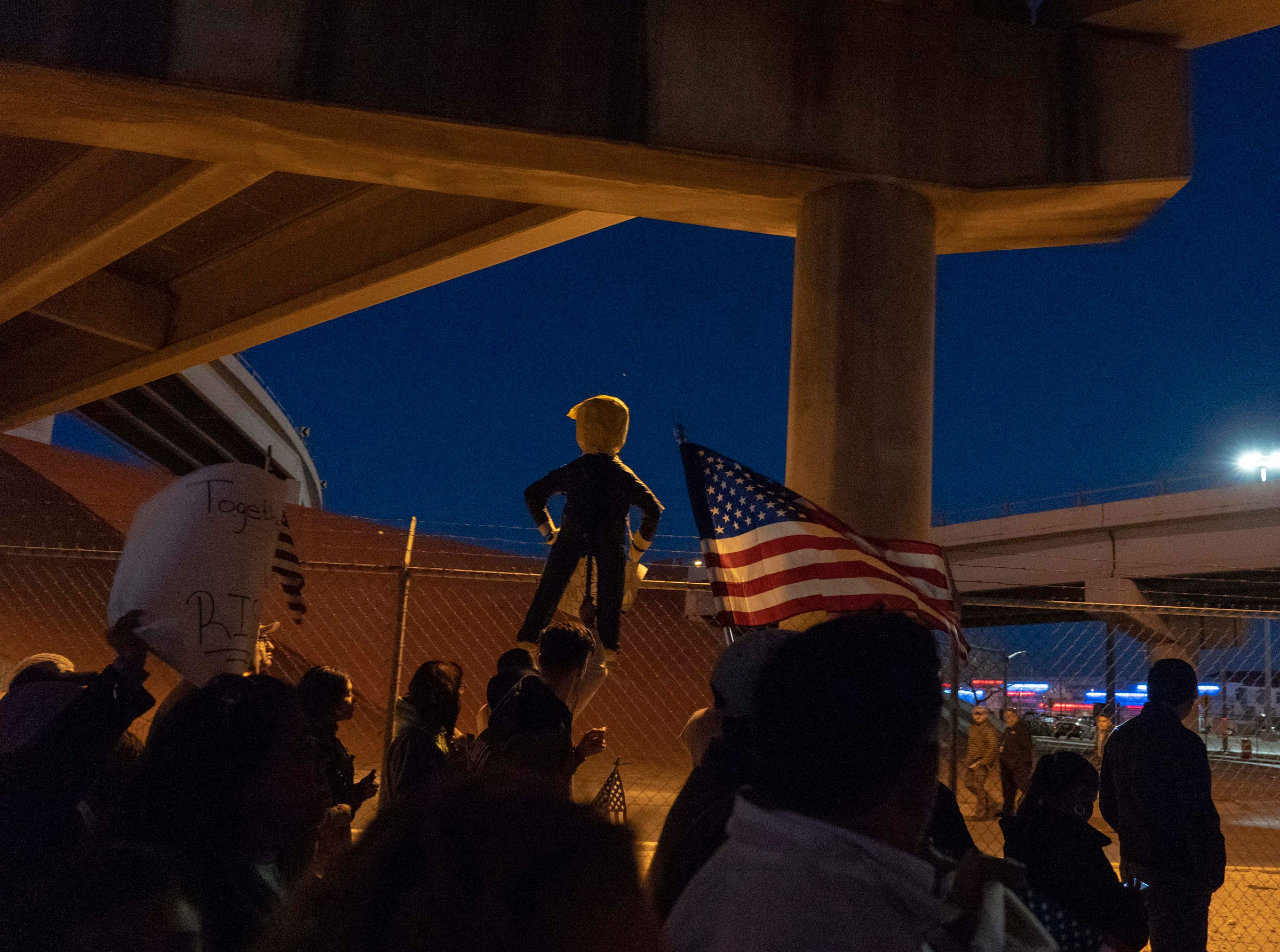 2/11/19 6:23:07 PM -- El Paso, TX, U.S.A  -- Hundreds joined the March for Truth along with Border Network for Human Rights, Women's March, to protest against President Trump campaign rally near El Paso County Coliseum on Feb. 11, 2019.