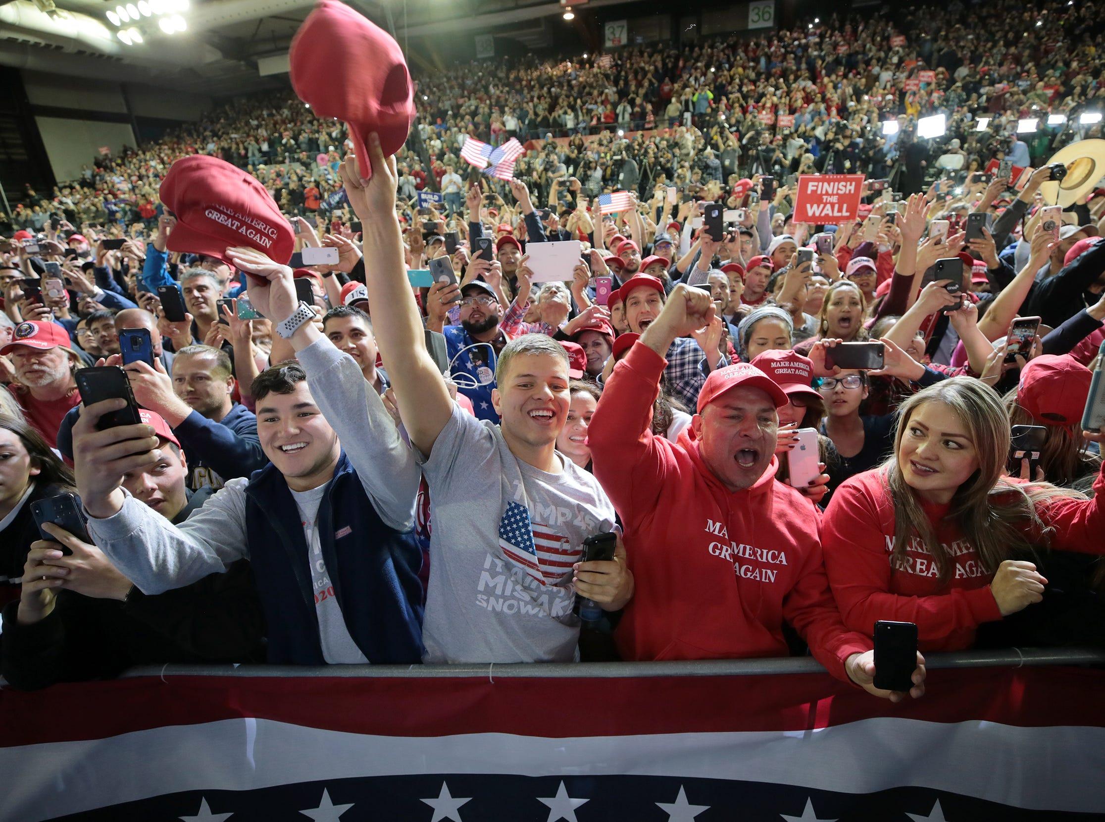 President Donald Trump speaks Monday a the El Paso County Coliseum.