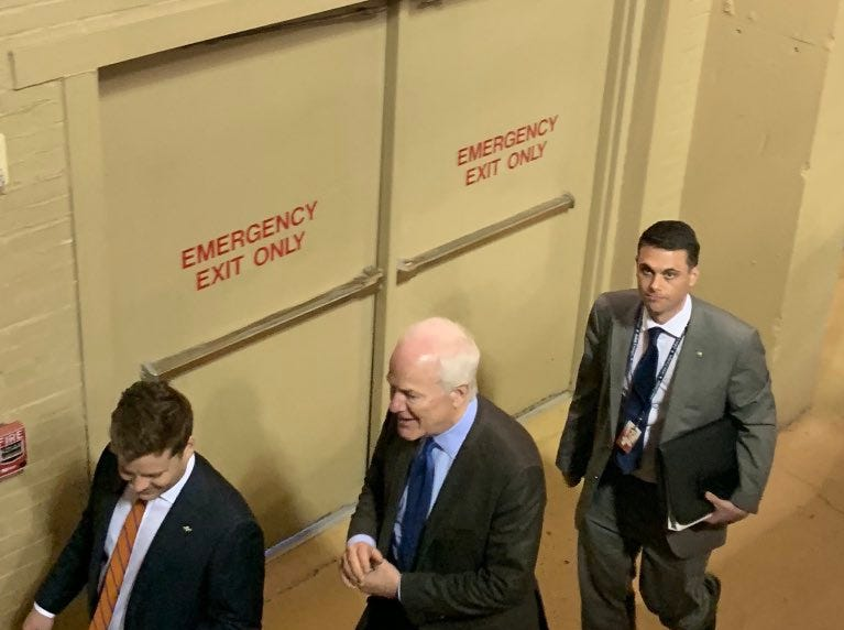 Texas Republican U.S. Sen. John Cornyn enters the El Paso County Coliseum on Monday, Feb. 11, 2019, ahead of President Donald Trump's rally.