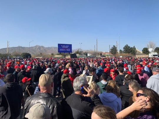 Several hundred people wait outside the El Paso County Coliseum for President Donald Trump's rally, Febr. 11, 2019.