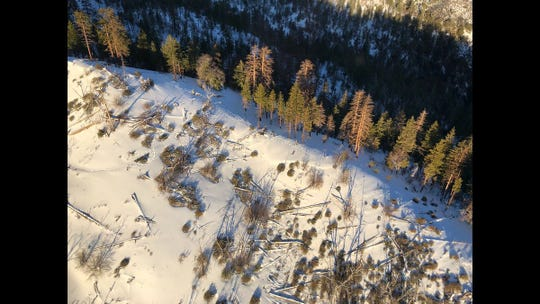 A snowy ridge on Alamo Mountain, seen from a helicopter, where six motorcyclists were rescued by the Ventura County Sheriff's Fillmore search-and-rescue team Monday.