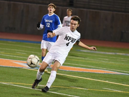 Junior attacking midfielder Luke Varav, shown passing the ball earlier this season during a 7-1 win at Westlake, has been a leader for Division 2 quarterfinalist Newbury Park.
