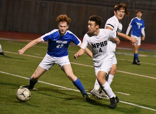 Junior attacking midfielder Luke Varav, shown beating an opponent earlier this season during a 7-1 win at Westlake, has driven the Newbury Park High boys soccer team to back-to-back CIF-Southern Section Division 2 quarterfinal appearances.