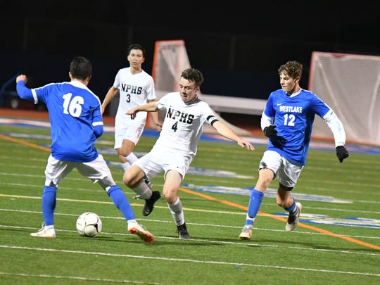 Junior attacking midfielder Luke Varav, shown challenging for a ball earlier this season during a 7-1 win at Westlake, has shown heart and hustle to help Newbury Park reach the Division 2 quarterfinals.