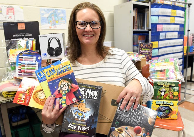 Thomas W. Wallace Junior Middle School teacher Jacquie Campbell received school supplies after a Instagram shout out from Hollywood actress Kristen Bell. Pictured here are some of the supplies in Campbell's classroom in Vineland on Tuesday, Feb. 12, 2019.