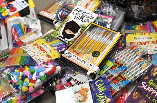 Thomas W. Wallace Junior Middle School teacher Jacquie Campbell received school supplies after a Instagram shoutout from Hollywood actress Kristen Bell. Pictured here are some of the supplies in Campbell's classroom in Vineland on Tuesday, Feb. 12, 2019.
