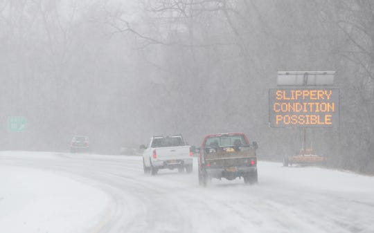 An electronic sign warning motorist of weather conditions at the entrance to I-684 southbound in Brewster Feb. 12,  2019.