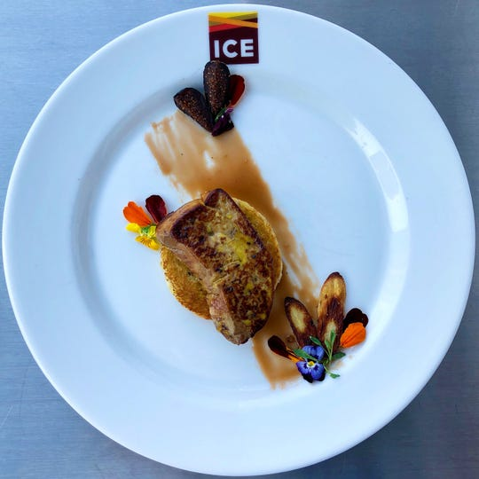 Foie gras with fig gastrique, a dish made by Monica Malarczyk at the Institute of Culinary Education in New York City.