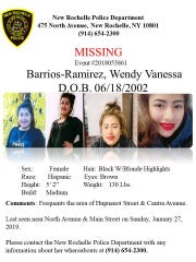 New Rochelle police are looking for Barrios-Ramirez.