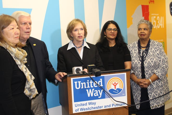 L to R: UWWP Board Chair June Blanc; 2-1-1 Board Chair Chris Ashman; UWWP President and CEO Alana Sweeny,  Senior Vice President 2-1-1 Lini Jacob; and Andrea Brown, Special Assistant to NYS Senate Majority Leader Andrea Stewart Cousins