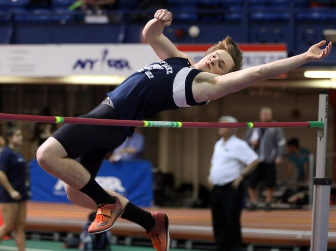 Westlake's Dylan Ahern wins Boys High Jump during Section 1 Class C Championships at The Armory in Manhattan Feb. 11, 2019.