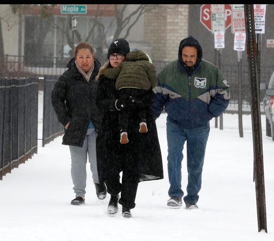 Mourners arrive at Lloyd Macy & Sons Beauchamp Chapel in New Rochelle, N.Y., on Feb. 12, 2019, to attend a wake for New Rochelle resident Valerie Reyes, whose body was found in a suitcase in Greenwich, Conn., last week.