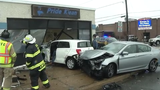 A car crashed into the front of Pride Klean on Maryland Avenue near Elsmere Tuesday.