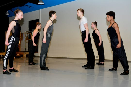 """The Sharks face off against the Jets (l to r) when members of the Wichita Falls Ballet Theatre perform """"West Side Story-Symphonic Dances' with the Wichita Falls Symphony Orchestra at the WFSO's Dance Mix at 7:30 p.m. Saturday, Feb. 23 at Memorial Auditorium."""