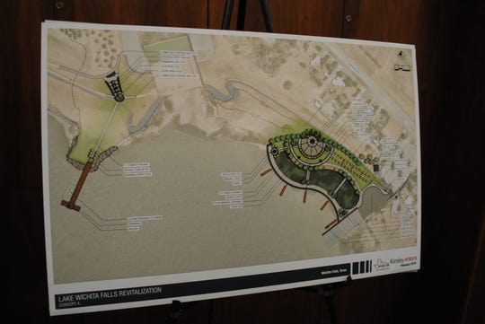 A modified concept by Kimley Horn of the Lake Wichita boardwalk, veterans memorial plaza and Kemp Street boat ramp. Design estimates for the three projects is just under $7 million.