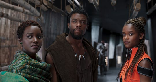"""Lupita Nyong'o (from left), Chadwick Boseman and Letitia Wright lead the cast of """"Black Panther,"""" a 2018 high point for diversity in Hollywood."""