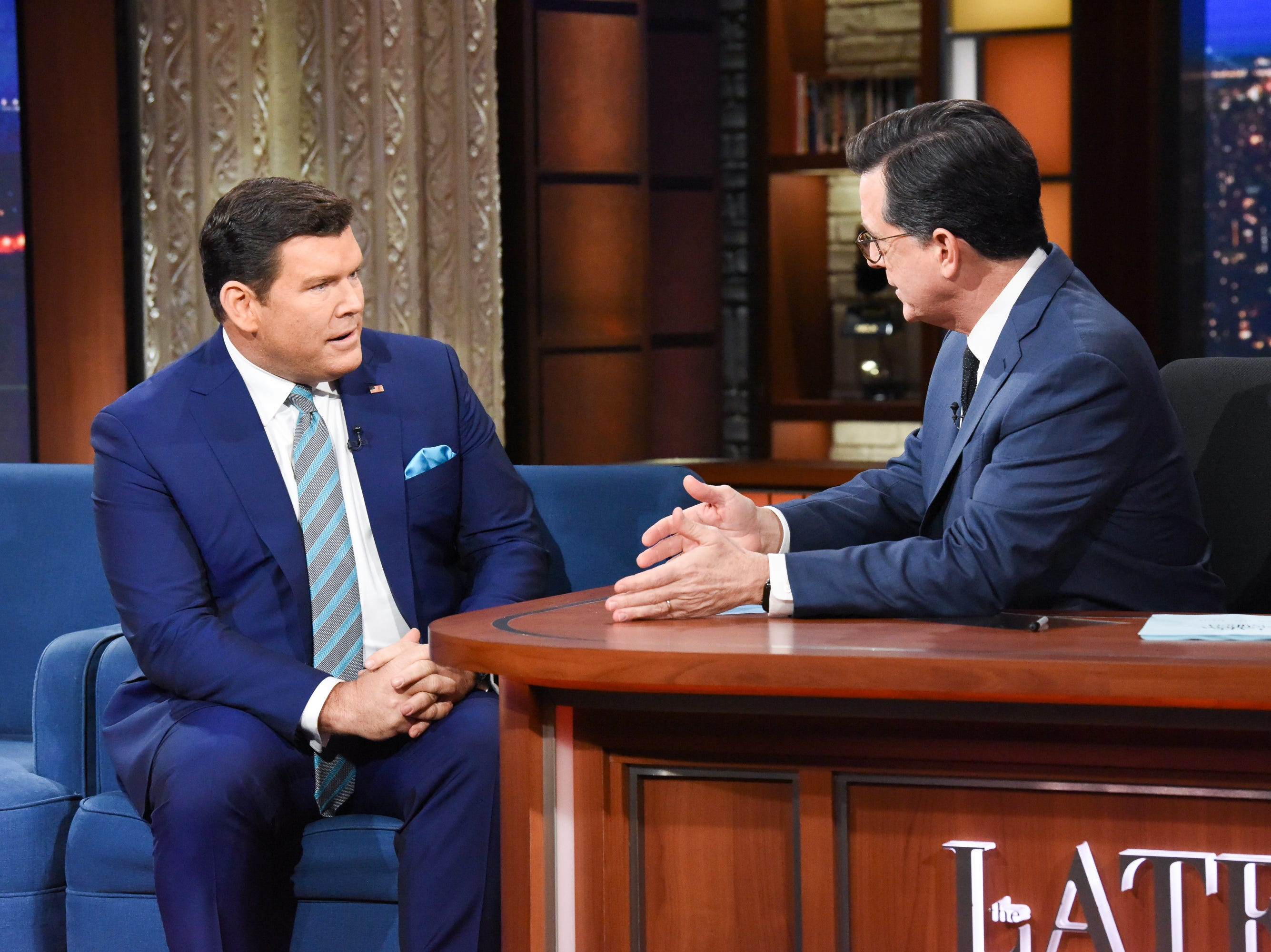 "Fox News anchor Bret Baier discusses his harrowing Montana car accident with ""Late Show"" host Stephen Colbert on Feb. 6, 2019. On Jan. 22, his Jeep slid through a stop sign during a family ski trip. ""Thanks to a man driving by named Zach who stopped and helped, we were able to climb out of the flipped car,"" Baier later said in a statement.  ""And thanks to the first responders and Montana Highway Patrol – we made it to the hospital quickly."""