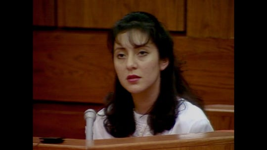 "Lorena Bobbitt in archival footage in the documentary ""Lorena."""