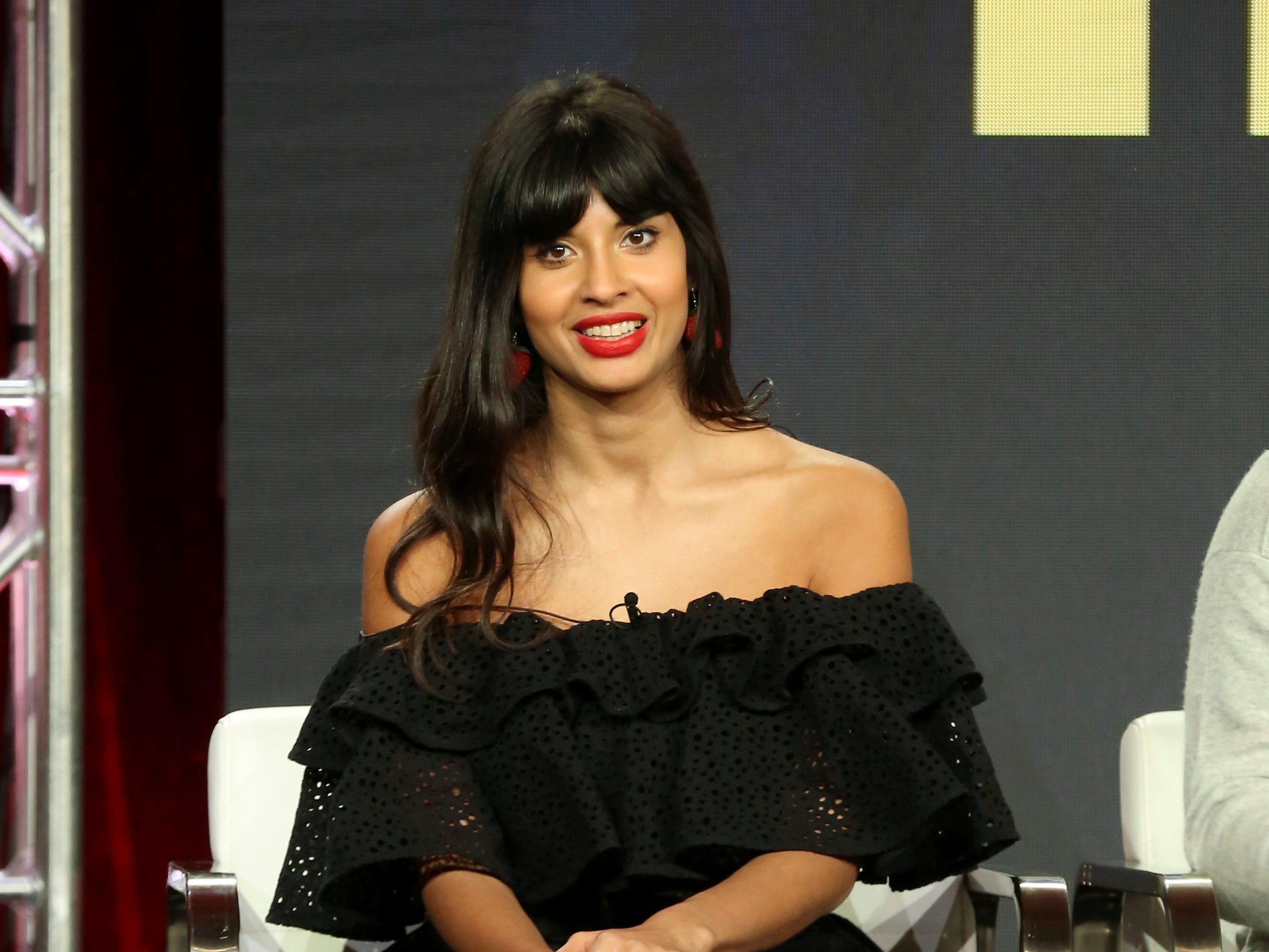 "Jameela Jamil listens during TBS's ""The Misery Index"" panel."
