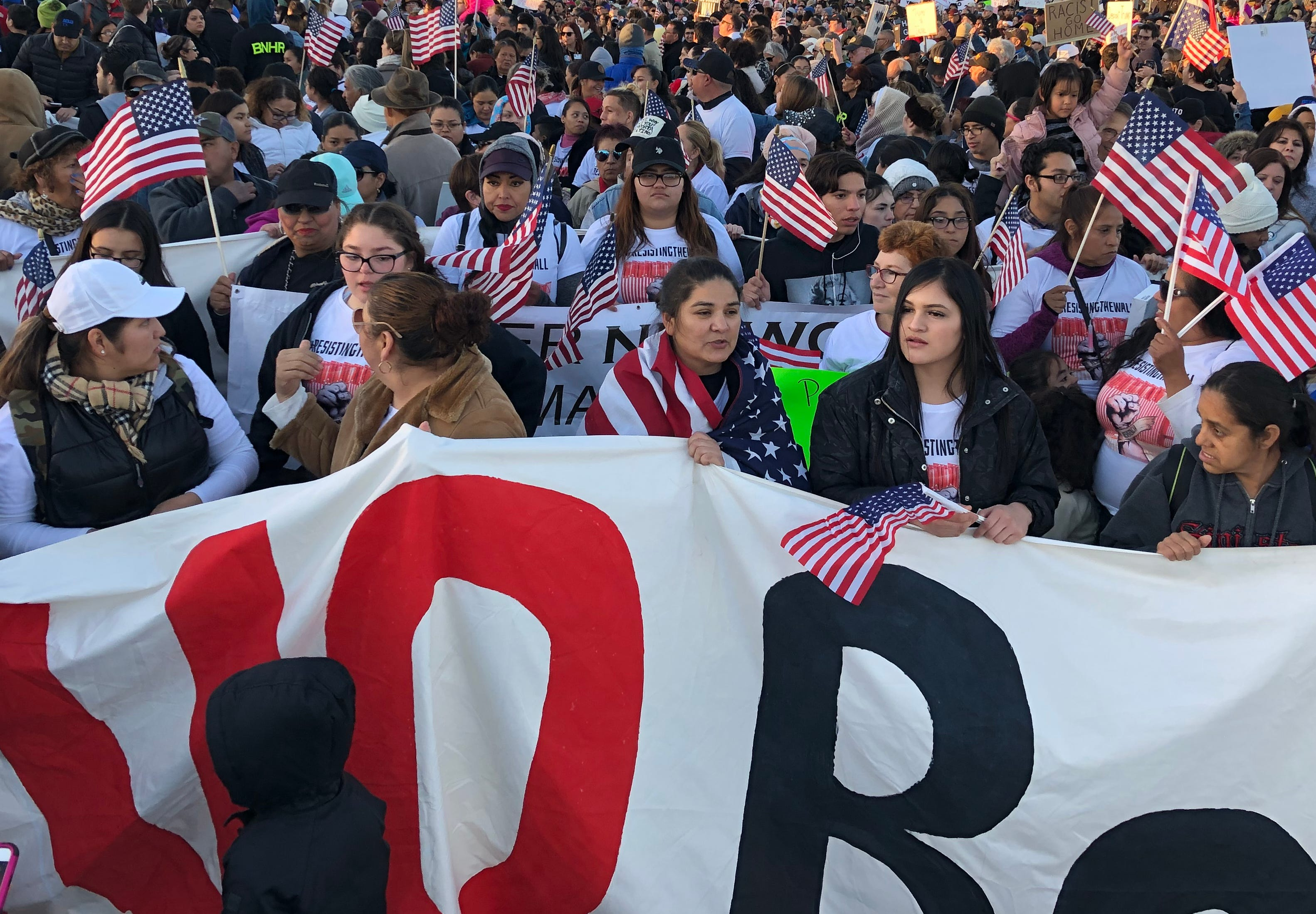 Several thousand protesters showed up at a counter rally about a mile away from President Donald Trump's rally in El Paso on Monday. Beto O'Rourke was the keynote speaker.