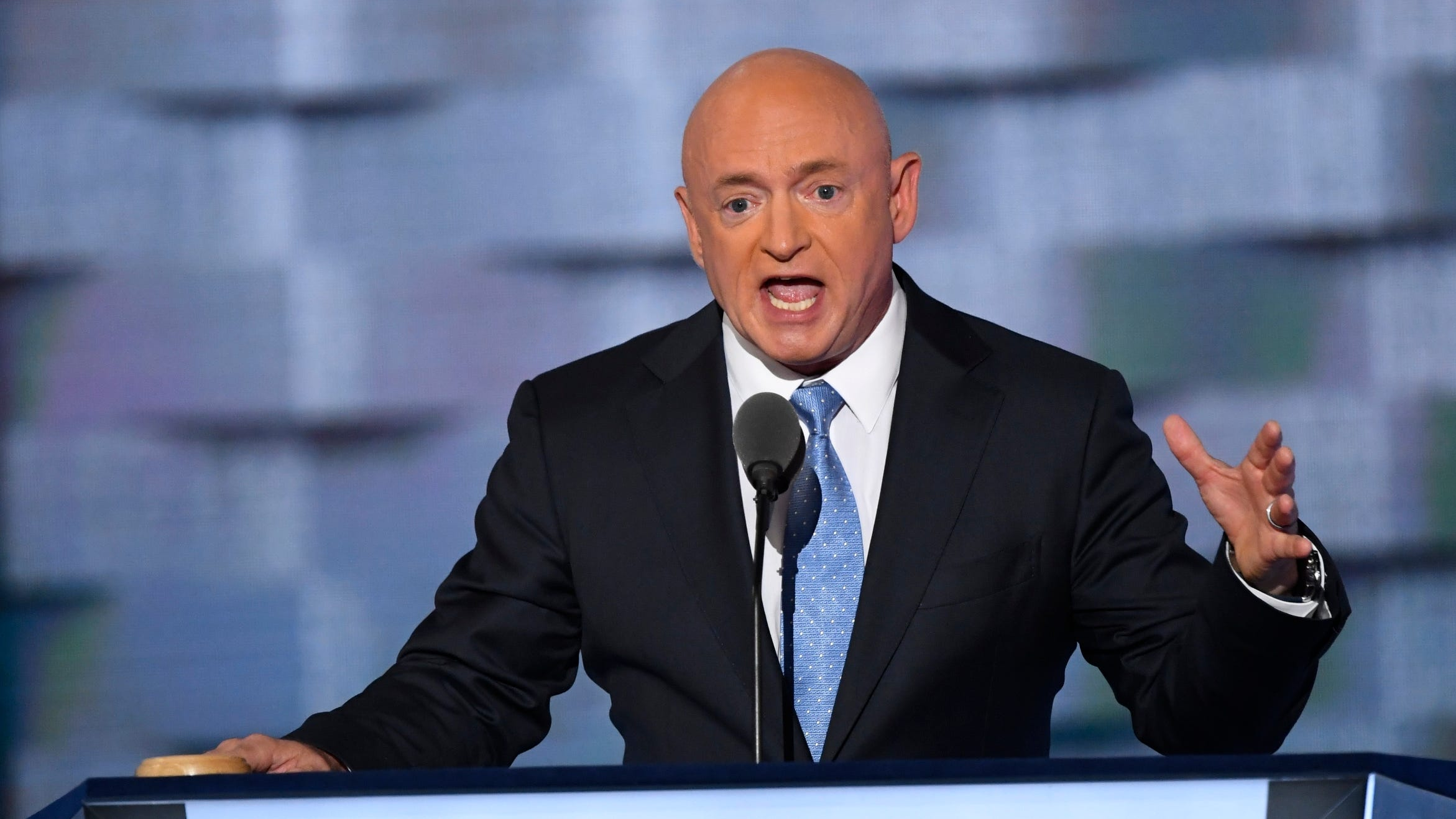 Retired Navy Captain and former NASA Astronaut Mark Kelly speaks on stage during the 2016 Democratic National Convention in Philadelphia on July 27, 2016.