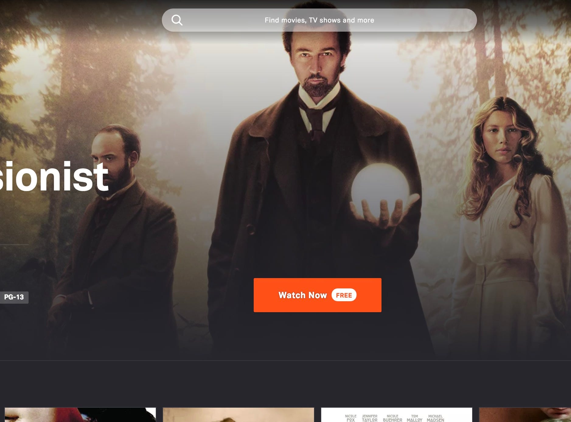 Home screen for the Tubi free streaming service