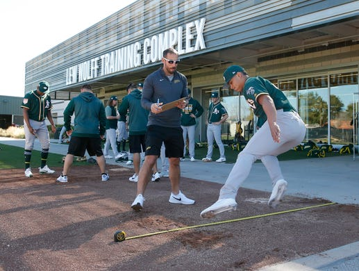 Feb 11: Athletics pitchers perform tests the first day at spring.