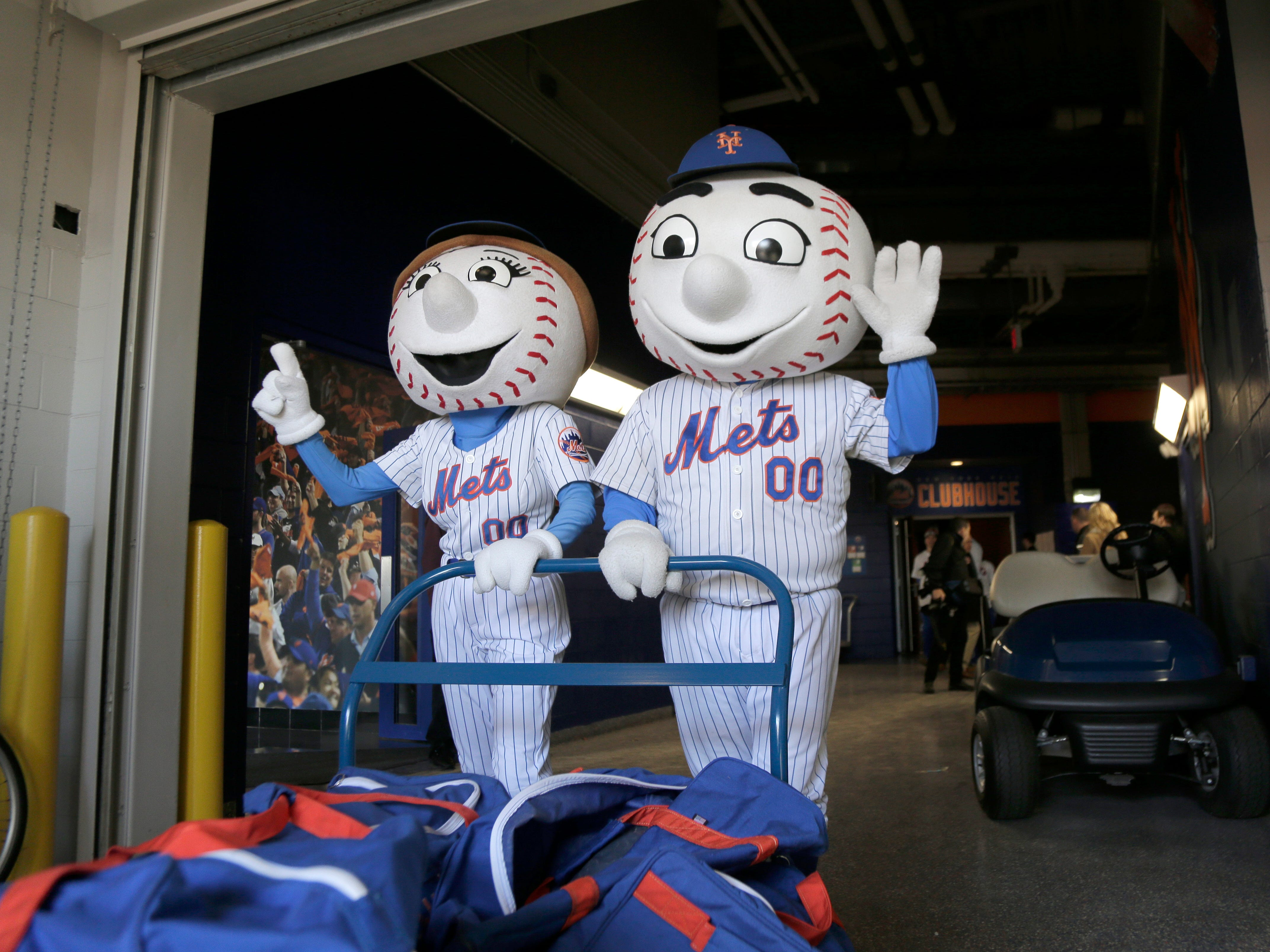 Feb. 4: Mr. and Mrs. Met help pack the team's equipment before it is sent to spring training.