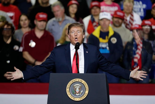 President Donald Trump speaks Monday at a campaign rally in El Paso, Texas.