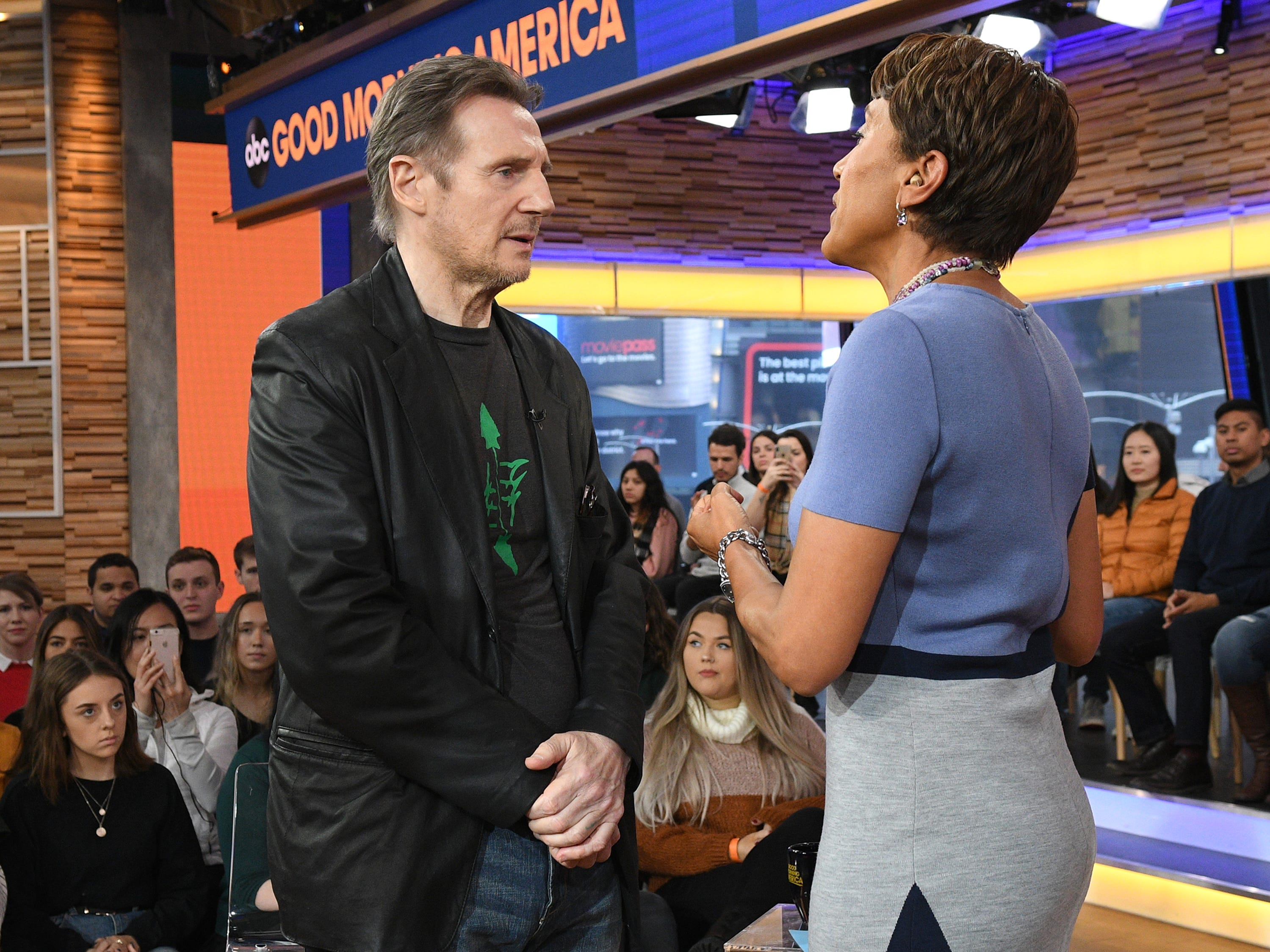 "Actor Liam Neeson does damage control in a Feb. 5, 2019, interview with ""Good Morning America"" host Robin Roberts one day after British newspaper The Independent published an interview in which the ""Taken"" star said he once went looking to kill a black person out as revenge for the rape of a loved one almost four decades ago."
