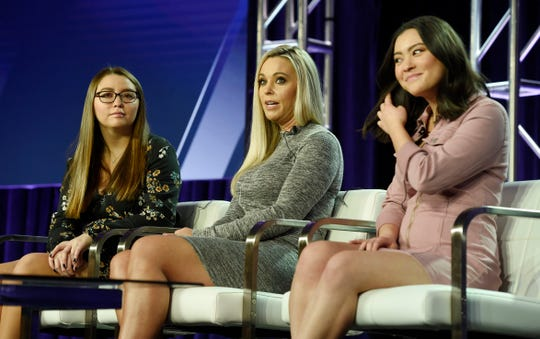 "Kate Gosselin, center, is on a quest for a new man in TLC's ""Kate Plus Date,"" with ]her daughters Cara, left, and Mady, along for the ride."